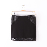 Wholesale Mini Skirts Tights - New 2016 Women's Sexy Tight Mini Skirts Ladies Hot Fashion Black PU Leather Patchwork Zippers Slim Pencil Skirts For Women