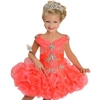 Wholesale Dresses Organza Mini Red - Shining Crystal Beaded Pageant Dresses V-Neck Sleeveless Ritzee Girls Ball Gowns Mini Short Flower Girl Dress For Wedding