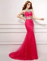 Wholesale Sexy Dance Dresses Plus Size - Luxurious Mermaid Two Pieces Evening Dresses Long 2016 New Arrival Sexy Crystal Celebrity Muslim Evening Dress Prom Party Dancing Dresses