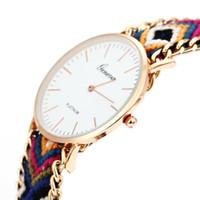 neue seiluhr großhandel-Neue Relogio feminino masculino Handmade Seil Genf Vintage Frauen Kleid Uhr Runde Gold Uhren Böhmen Faden Quarz Armbanduhren