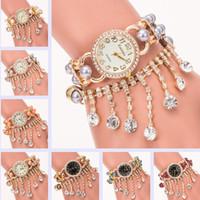 Wholesale Orange Pearl Bracelet - Luxury Kanima Pearl Diamond Bracelet Watch colorful Lady Quartz Wristwatches Artificial pearls Women Rhinestone Watches Big Promotion