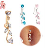 Wholesale Medical Goods - Body piercing jewelry Medical steel Navel buckle bell button rings Gold Plated Leaves Heart belly ring good quality navel nail for Women