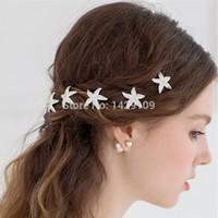 saç tokaları türleri toptan satış-10 ADET 2015 Gelin Çanak Saç U-tipi Tokalar Denizyıldızı Tipi Için Rhinestones Ile Rhinestones Yaz Plaj Düğünleri