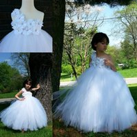 Eine Schulter Ballkleid Blumenmädchen Kleider für Hochzeiten 2017 Real Image Taufkommunion Geburtstagskleider Kinder Junior Bridesmaid