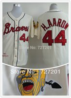 Wholesale Order Baseball Jersey Cheap - Wholesale Cheap Atlanta Braves 44 Hank Aaron 1963 Throwback Cream white blue Baseball Jerseys,Mix Orders-Free shipping size S~6XL