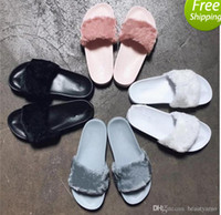 Wholesale Fashion Slippers For Girls - 2018 Leadcat Fenty Rihanna Shoes for Women Slippers Indoor Sandals Girls Fashion Scuffs Pink Black Grey Fur Slides Star SWith Women's Shoes