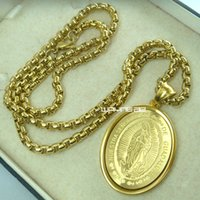 Wholesale Gps Pendant - Mens's 18K 18CT Yellow Gold GP The Virgin Mary Chain Pendant necklace N277