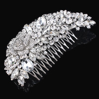 Wholesale Diamante Clear Rhinestone - 5 Inch Huge 100% Top Quality Guarantee! Clear Crystal Diamante Big Hair Comb Best Gift Hair Jewelry For Women H008