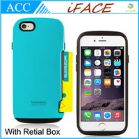 Wholesale Iface Iphone 5s - iFace Armor PC & TPU Hybrid Credit Card Case For iPhone 5 5S 6 Plus Galaxy S4 S5 Note 3 4 Double Layers Cover Shockproof Back Skin & Retail