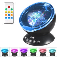 Wholesale Kids Night Lights Projector - 7Colors LED Night Light Starry Sky Remote Control Ocean Wave Projector with Mini Music Novelty baby lamp led night lamp for kids
