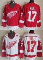 Wholesale Dry Ice Delivery - 2016 New, 2014 Free delivery top quality Throwback Detroit red wings #17 Brett Hull red White CCM Retro older Team ice hockey Jerseys