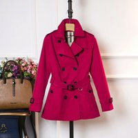 Wholesale Women British Style - Big women's double-breasted three kinds of color windbreaker ladies autumn and winter windbreaker solid color British business American casu