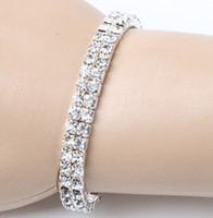Wholesale Crystal Bracelet Charms - 2017 12pcs lot Clear Spring Silver Plated 2-Rows Crystal Rhinestone Bracelets Tennis Hot sell Items Fashion Jewelry