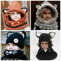 Wholesale Hand Crocheted Scarves - kids crochet hats scarf baby winter fox cat ear head scarves caps fashion girl knitting set children hand woven hat weaving cap wraps Shapka