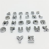 Wholesale Collars Letters 8mm - 52PCS Lot Hot 8MM Full Rhinestones Slide Letters A-Z Alphabet DIY Slide Charms Fit 8MM Wristbands Bracelets Belts Collars SL01