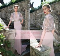 Wholesale Satin Dress Sashes - 2015 Formal Evening Dresses Flesh Pink Satin Sexy Deep V Neck Keyhole Backless Short Sleeve Beaded Sash With Jacket Glitz Party Gown TE92604