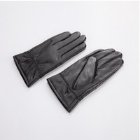 Wholesale Sheep Skin Leather Gloves - Wholesale-Christmas sheep skin leather gloves warm winter plus thick velvet thin fashion models male and female couple leather gloves YX70