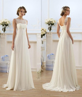 Wholesale Bateau Neckline Lace Wedding Dress - 2018 Chiffon A Line Empire High Waist Wedding Dresses Lace Sheer Neckline Lace-up Backless Summer Beach Maternity Bridal Gowns CPS212