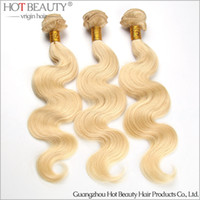 Russian Hair blonde hair products - New Arrival European Russian Vrgin Hair Body Wave blonde color Human Hair Weave Extensions hot beauty hair product