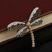 Wholesale Vintage Dragonfly Brooch Rhinestones - Women Fashion New Dragonfly Clear Rhinestone Brooches Women Wedding Party Jewelry Brooch pins Lady Vintage Jewelry