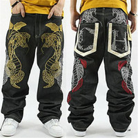 ingrosso pantaloni lunghi sciolti-2018 Hot fashion NY Skateboard ricamo Dragon jeans COOL Graffiti lunghi pantaloni casual rilassati allentati Rap boy B BOY Pantaloni taglia 34 ~ 42