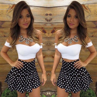 Wholesale Dotted Ladies Skirts - 2016 fashion new arrival women clothing ladies Sexy Strapless Short Sleeve Off Shoulder Crop Tops and Polka Dot Skirt Contrast Colors Two Pi
