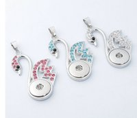 Wholesale Christmas Goose - 2016 goose 3 colors Swan with rhinestone pendant 18mm noosa button snap button pendant diy jelwery diy snap button jelwery accessories