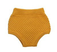 Wholesale Baby Knitted Leggings - Wholesale-New 2016 Bobo Choses Baby Ashion Girls Pumpkin Pants High Baby Bloomers Waist Baby Girls Knit Wool Shorts Wild PP Leggings Pants