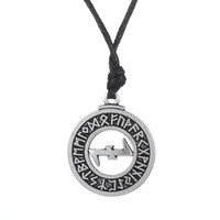 Wholesale Elder Futhark Runes - 20pcs Pewtwer Wolfsangel Elder Futhark Rune Solomon Pendant Adjustable Rope Chain Wicca Necklace For Jewelry Making (A126958)