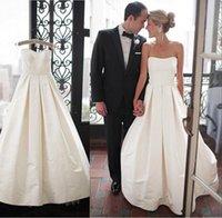Wholesale Strapless Satin Bowknot Ivory - Elegant Satin Strapless Backless Wedding Dresses 2016 with Handmade Bowknot Bridal Gowns vestido de noiva Modest Beach Dress Wedding Sale