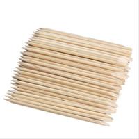 ingrosso sporgente della cuticola del bastone di legno arancione-All'ingrosso-100pcs Nail Art Orange legno Stick Cuticle Pusher Remover per Manicure Cura Nail Art Tool Spedizione gratuita