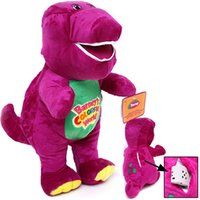 "Wholesale Singing Halloween Toy - 1PC Lot 11""  30cm Musical Purple Dinosaur Barney Plush baby Toy The Dinosaur Sing song Good Toys Doll for children Kids Gift"