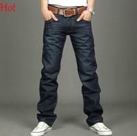 Wholesale Korea Men Coat Styles - 2017 Fashion Jeans Pants Autumn Spring Trousers Men Straight Jeans Denim Pants Trousers Korea Slim Fit Trousers Dark Blue Men Jeans Sale 356