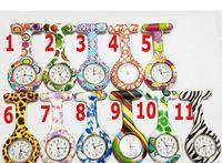 Wholesale Zebra Print Watches - Silicone Nurse Pocket Watch Candy Colors Zebra Leopard Prints Soft band brooch FOB Nurse Watch
