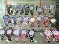 Wholesale Geneva Silicone Print Watches - New Floral Print Geneva watch Hot Sale Women Geneva Quartz Luxury Brand Women Quartz Relogio Feminino montre femme Fob Quartz D366