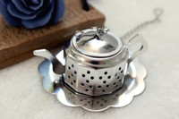 Wholesale Teapot Shape Tea Strainer - 304 Stainless Steel Silvery Teapot Shape Tea Infuser Strainer tool wholesale Free Shipping