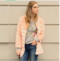 Wholesale Cheap Faux Coats - 2016 Winter Warm Womens Faux Fur Coat Long Jacket Cheap Rabbit Fur Jacket Plus Size 7XL Pink Snow Overcoat manteau femme H6 manteau