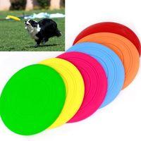 ingrosso grandi cani di plastica-15 PZ Grande Cane Frisbee Trainning Cucciolo Giocattolo di Plastica Silicone Fetch Disco Volante Frisby Per Cani 18 cm Spedizione gratuit ...