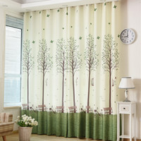 Wholesale Decorative Curtain For Doors - Green Tree Printed Blackout Window Door Curtains for Living Room Bedroom Kids Baby Room Kitchen Home Decorative Curtains Drapes curtain