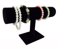 ingrosso porta bracciali-Hot Consiglia Bianco Pu Black Velvet Bracelet Bangle Chain Watch T-bar Rack Jewelry Display Stand Holder Porps Box Storage Case Spedizione gratuita