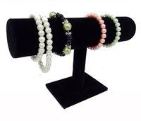 vitrines de bijoux noirs achat en gros de-Hot Recommander Blanc Pu Noir Velours Bracelet Bracelet Chaîne Montre T-bar Rack Bijoux Présentoir Titulaire Porps Boîte De Stockage Cas Livraison Gratuite