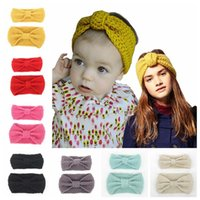 Wholesale Babies Knitted Headwraps - Mommy and Me crochet braids Hair Tiaras Winther Designer Baby Kids Knitted Soft Headwraps Newborn InfantEar Warmer