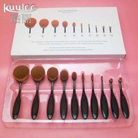 Wholesale Toothbrush Gift - 10pcs Bent Nylon Handle Makeup Brush Gift Set Toothbrush Shaped Cosmetic Beauty Brushes kit Tool