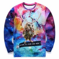 Wholesale New Birds Space - w1208 Alisister new 3d sport hoodies space galaxy printed animal lucky bird owl graphic sweatshirts men women sweats Jersey pullovers