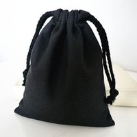 """Wholesale Jewelry Sack Logo - Black Canvas Drawstring Bag 8cmx10cm (3""""x 4"""") can print logo 100% Natural Cotton Sack Bag Jewelry Gift Pouches Wedding Party Favor holder"""