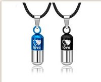 Wholesale Love Pills Capsule - Love pills stainless steel lovers Korea capsule Titanium steel fashion pendant necklace Creative necklace