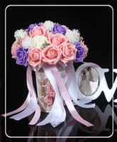 Wholesale Cheap Red Bridal Bouquets - 2016 Cheap Bridal Artificial Wedding Bouquets Wedding Decoration Purple Red Bridesmaid Flower Bouquets Rose Actual Image In Stock