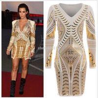 Wholesale Kim Kardashian V Neck Dress - Women Kim Kardashian Dress Long Sleeve Ladies Gold 3D Printed Foil Aztec Bodycon Dresses Sexy V Neck