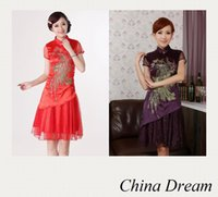 Wholesale Chinese Cheongsam For Sale - Free shipping 2015 new evening dress chinese traditional clothing silk cheongsam for sale chinese style dresses peacock dress D0190 2 color