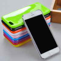 Wholesale Iphone Rubber Shell Case - Candy Color Soft TPU Gel Rubber Silicone Jelly Case Cover for iPhone 7 Plus 6 6s Plus 5 5S se Solid Color Shell 16 colors to choose